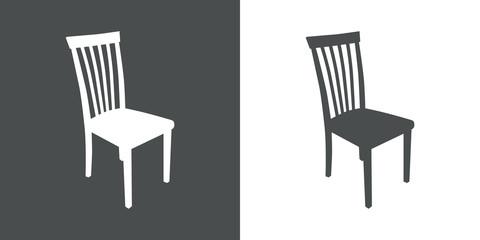 Icono plano silueta silla en gris y blanco