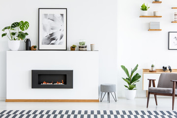 Poster and plant on white board with fireplace in cosy living room interior with armchair. Real photo