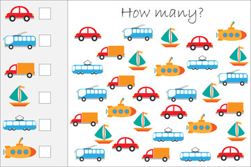 How many counting game with colorful transport for kids, educational maths task for the development of logical thinking, preschool worksheet activity, count  and write the result, vector illustration