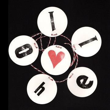 Typo Girlanden Garlands Hand Stamped DIY Hello Wood Letter Old Vintage Retro Rough Black Red Round Heart Love by Typo Graphic Design