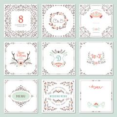Ornate frames design and rustic wedding elements set. Flourish card templates.