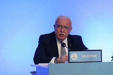 Palestinian Foreign Minister Riyad al-Maliki speaks during a meeting of the OIC Foreign Ministers Council in Istanbul