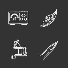 Tattoo studio chalk icons set