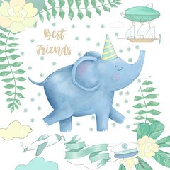 Elephant and flowers for design ready card clip art digital animal of africa cute drawing character funny kid style on white background