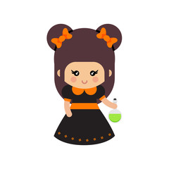 cartoon cute witch with bow and magic potion