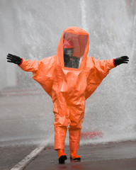 orange protective suit against chemical and bacteriological viru