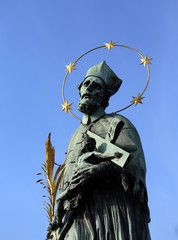 statue of John Nepomucene with halo with five stars