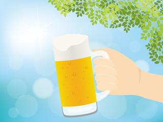 ビールと青空