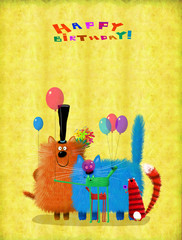 Big Company Of Cats With Flowers And Balloons Wishing Happy Birthday