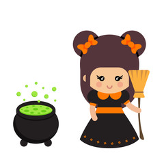 cartoon cute witch with bow and cauldron and broom