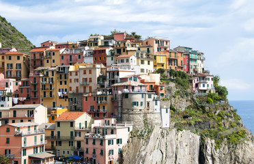 Colorful houses in Manarola village, Liguria, Italy