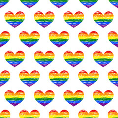 Lesbian, gay, bisexual, transgender LGBT pride heart. Seamless pattern. Grunge heart background. Gay and lesbian love.