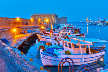 Port of Heraklion with old fishing boats
