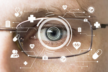 Future man with glasses cyber technology treatment eye panel concept virtual healthcare