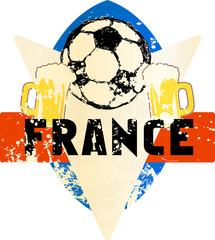 Soccer / Football fictional grungy emblem with soccer ball and beer,france, vector illustration