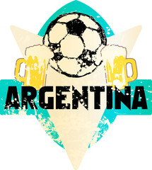 Soccer / Football fictional grungy emblem sign with soccer ball and beer,argentina, vector illustration