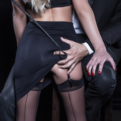 Man with whip grab sub woman lovers ass