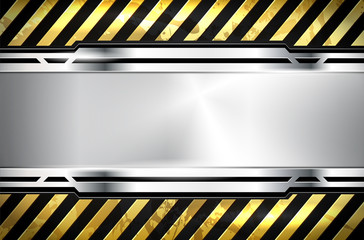 Silver metal grungy frame background with yellow warning lines
