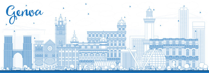 Outline Genoa Italy City Skyline with Blue Buildings.