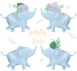 Elephant and flowers for design ready card clip art digital animal of africa cute drawing character funny kid summer style on white background