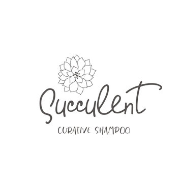 Line logo of succulent.