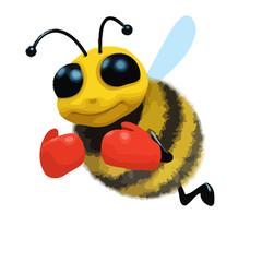 3d Cartoon honey bee character wearing boxing gloves