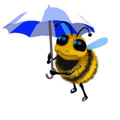3d 3d Cartoon honey bee character under an umbrella.
