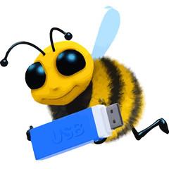 3d Cartoon honey bee character holding a USB stick