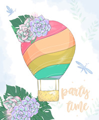 Balloon digital clip art flowers drawing illustration color flying balloon with basket color element Greeting Celebration Birthday Card Bounquet on white backgroundon