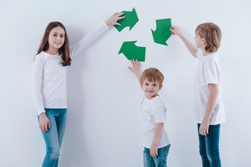 Children against white background
