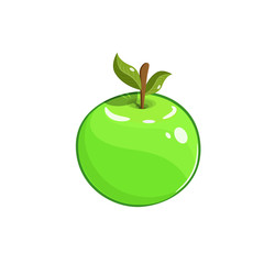 Vector illustration. Green apple with stem and leaf. Decoration for greeting cards, posters, patches, prints for clothes, emblems