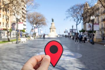 red marker in Rambla Nova street, Tarragona, Spain