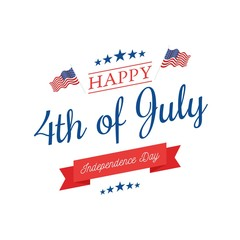 Fourth of July, United Stated independence day greeting. July 4th typographic design