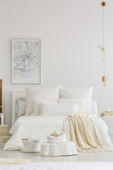 White bedding and blanket