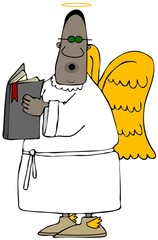 Illustration of a black angel wearing shades singing while holding an open hymnbook.