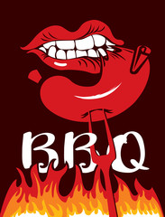 Vector banner with flames and inscription BBQ. A flat illustration with a human mouth that bites a sausage from a fork