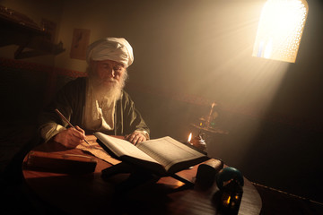Historical Scene While An Islamic Scientist is Reading