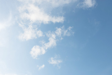 Blue sky white cloud white background