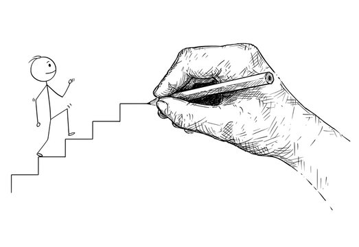 Cartoon stick man drawing conceptual illustration of businessman walking up the stairs and big hand preparing or drawing the way for him. Business concept of education, mentoring or mentorship.
