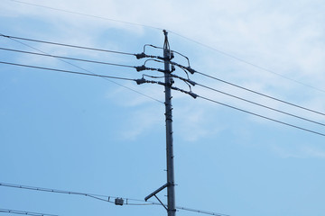Utility pole at Hamamatsu Kotocho in Japan. electricity post.