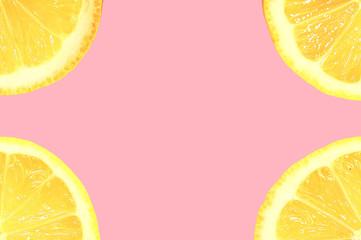 Minimalistic summer frame with sliced lemon