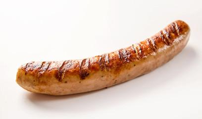 Spicy cooked German bratwurst sausage