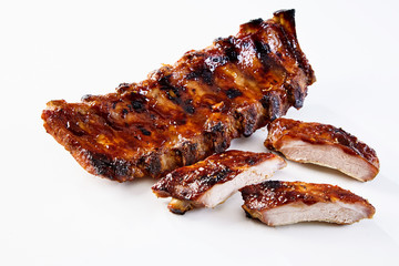 Marinated sticky spare ribs with copy space