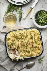 Fish pie with dill and peas