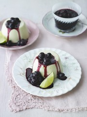 White chocolate panna cotta with blueberry and lime compote