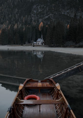 Wooden boat in a lake