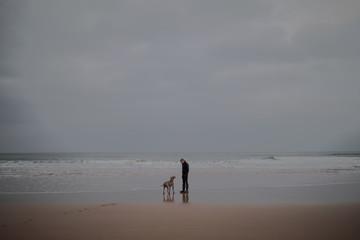 Man and a dog on a empty beach