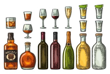 Set glass and bottle whiskey, wine, tequila, cognac, champagne. Vector engraving