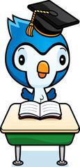 Cartoon Baby Bluejay Student