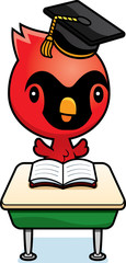 Cartoon Baby Cardinal Student